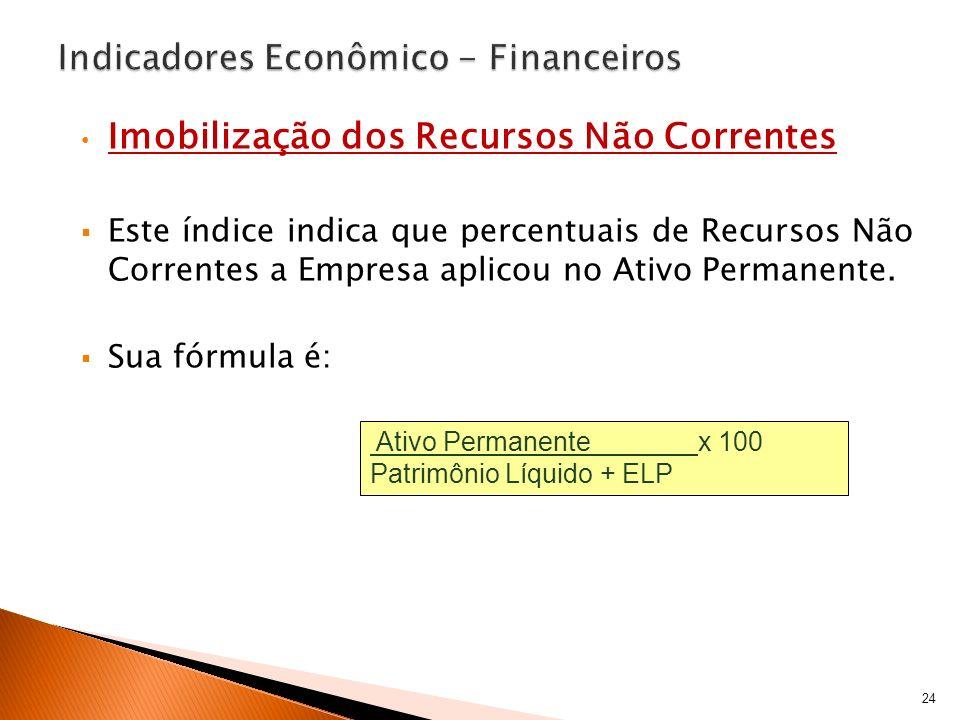 Imobilização dos Recursos Não Correntes Este índice indica que percentuais de Recursos Não Correntes a Empresa aplicou no Ativo Permanente. Sua fórmul