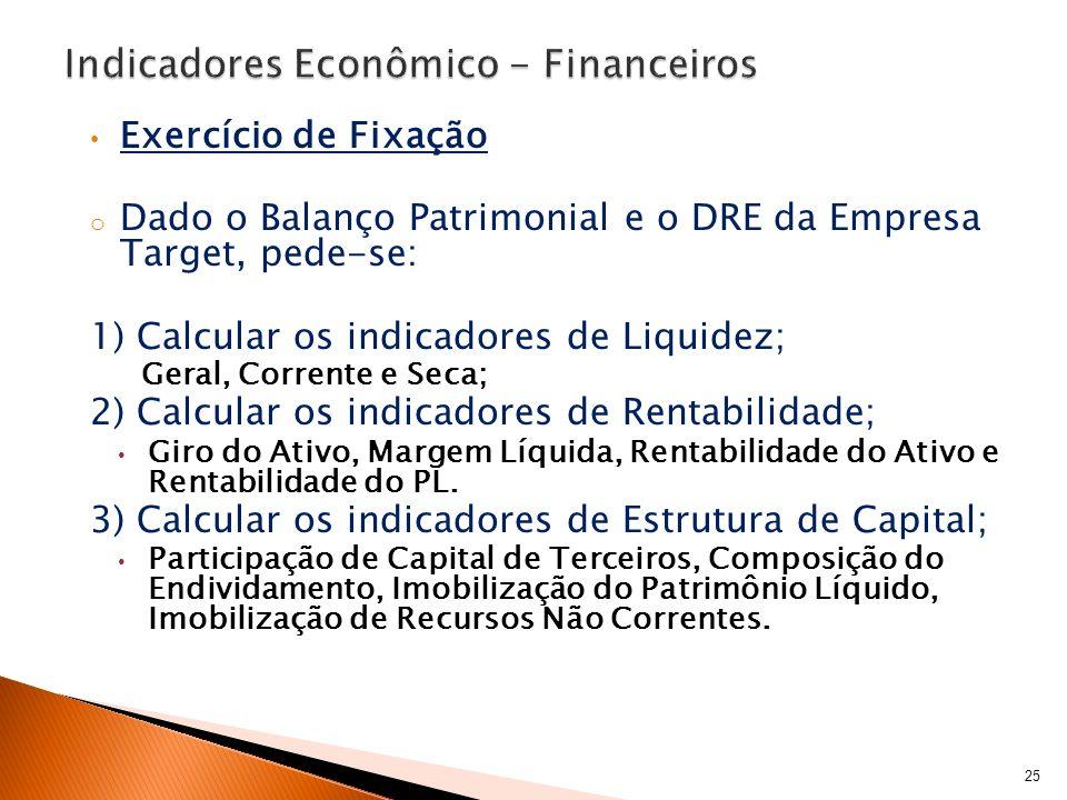 Exercício de Fixação o Dado o Balanço Patrimonial e o DRE da Empresa Target, pede-se: 1) Calcular os indicadores de Liquidez; Geral, Corrente e Seca;