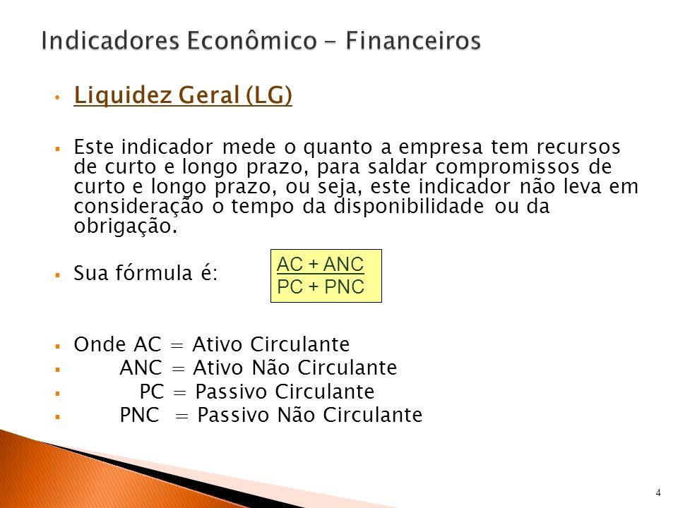 Liquidez Geral (LG) Este indicador mede o quanto a empresa tem recursos de curto e longo prazo, para saldar compromissos de curto e longo prazo, ou se