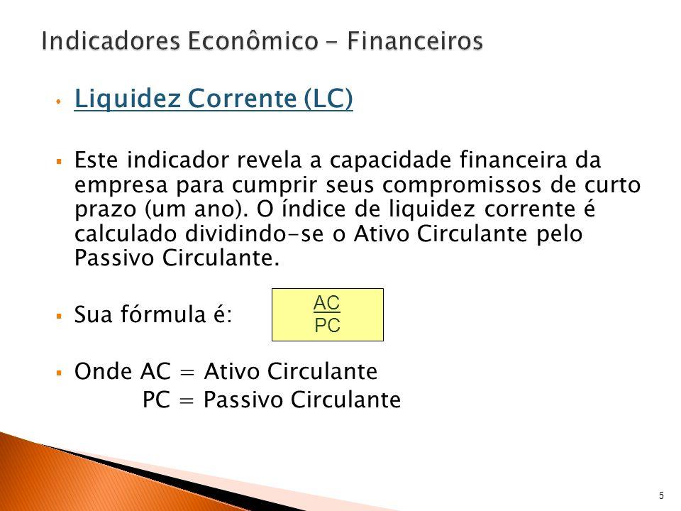Liquidez Corrente (LC) O índice de Liquidez Corrente mostra quanto a empresa possui no Ativo Circulante, para cada unidade monetária ($ 1,00) do Passivo Circulante.