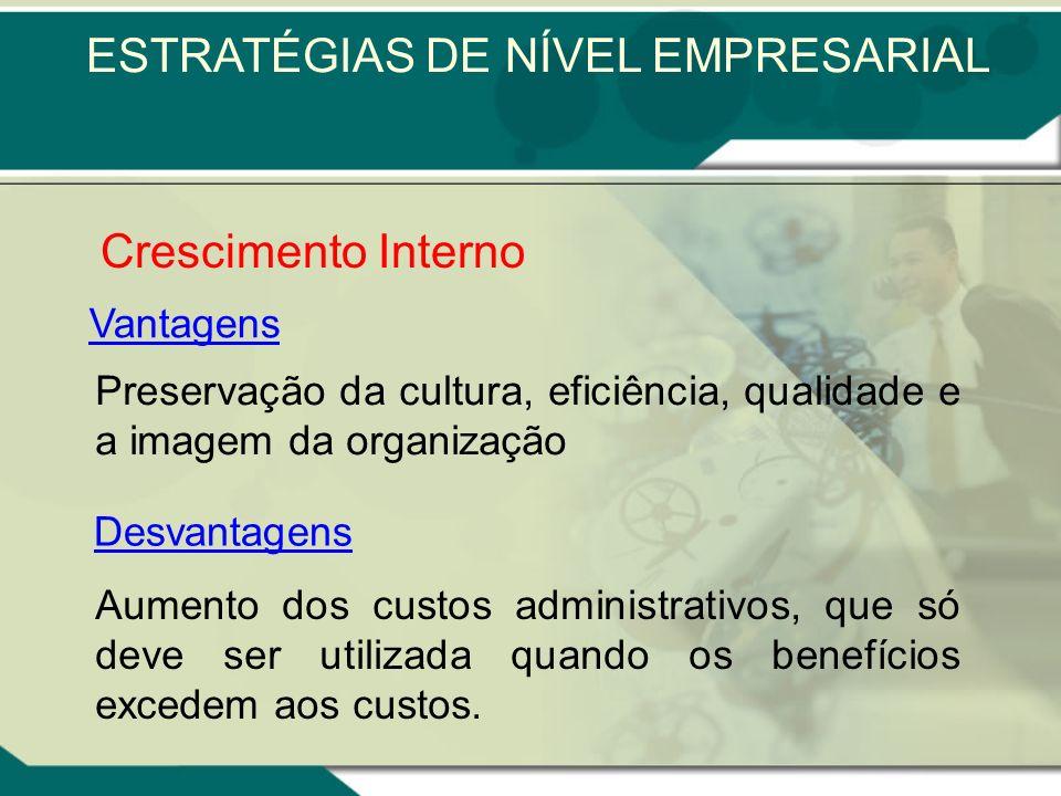Crescimento Interno Horizontal Envolvendo a criação de empresas em negócios relacionados Crescimento Interno Vertical Envolvendo a criação de empresas