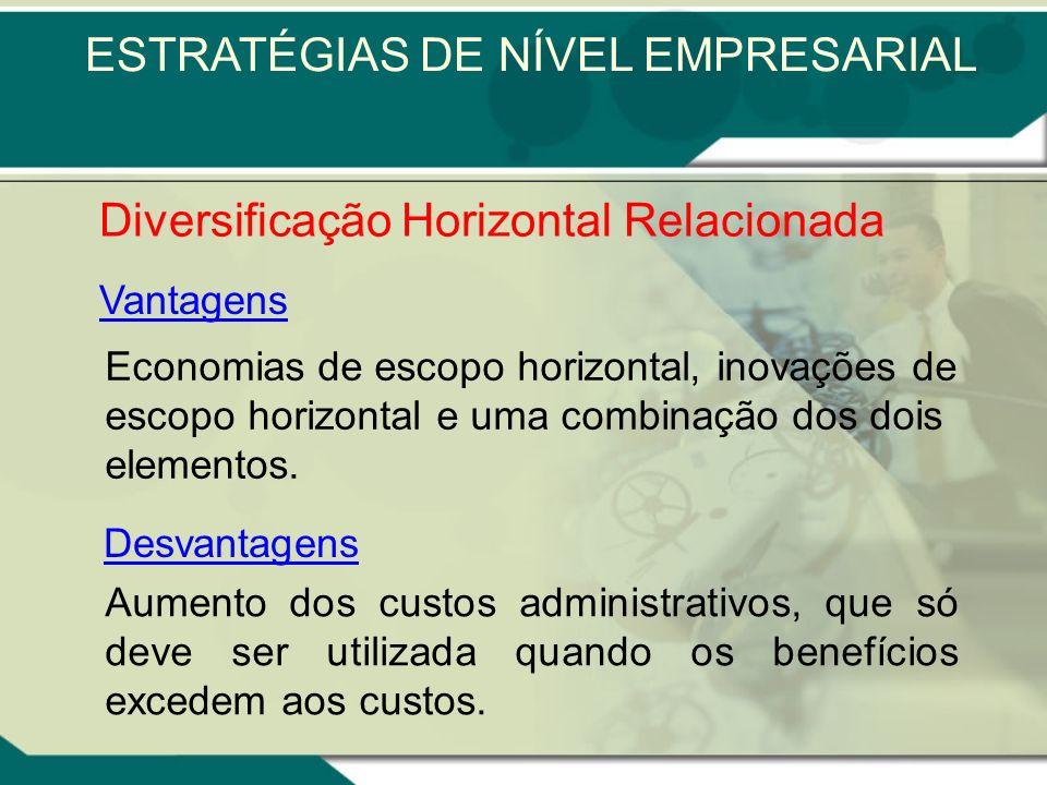 As competências essenciais relacionadas podem ser classificadas como semelhantes ou complementares Diversificação Horizontal Relacionada ESTRATÉGIAS D