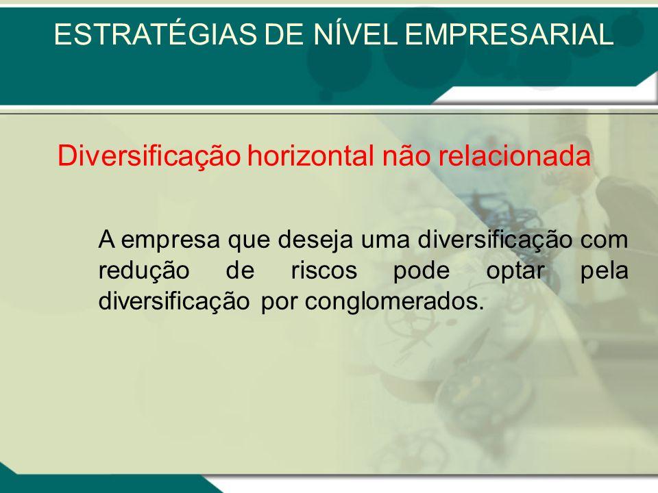 Diversificação horizontal não relacionada As decisões a serem tomadas pela empresa são feitas por motivos de investimento financeiros. É uma diversifi