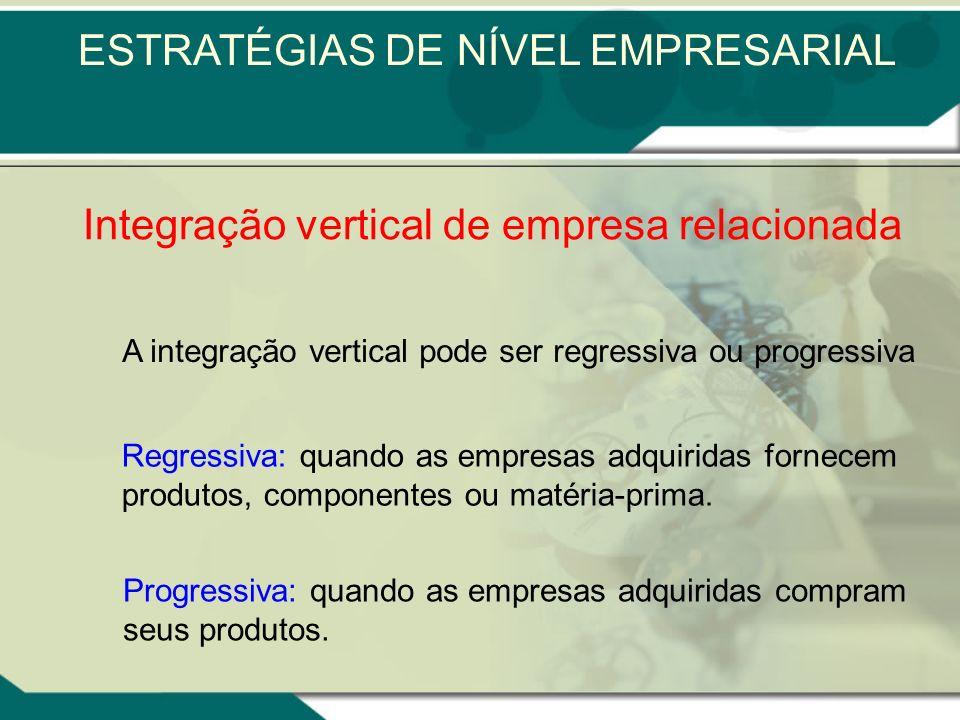 Já a aquisição de uma empresa com competências essenciais semelhantes ou complementares é denominada integração vertical de empresas relacionadas. O t