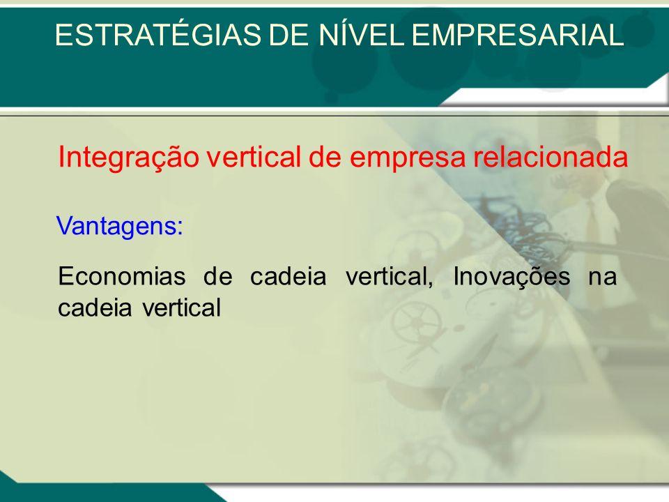 Integração vertical de empresa relacionada A integração vertical pode ser regressiva ou progressiva Regressiva: quando as empresas adquiridas fornecem
