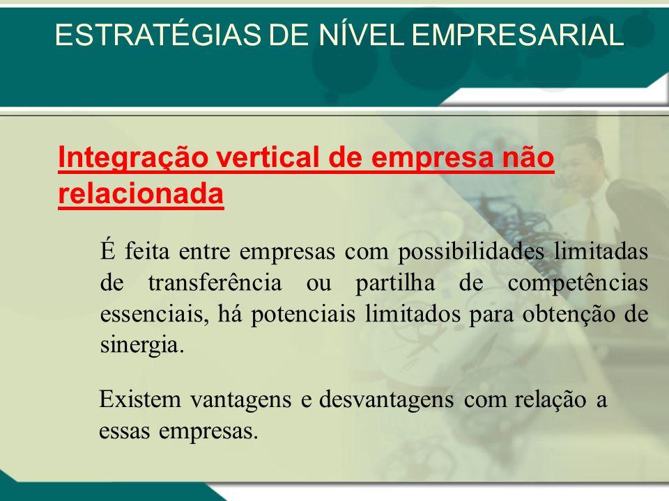 Integração vertical de empresa relacionada Vantagens: Economias de cadeia vertical, Inovações na cadeia vertical ESTRATÉGIAS DE NÍVEL EMPRESARIAL
