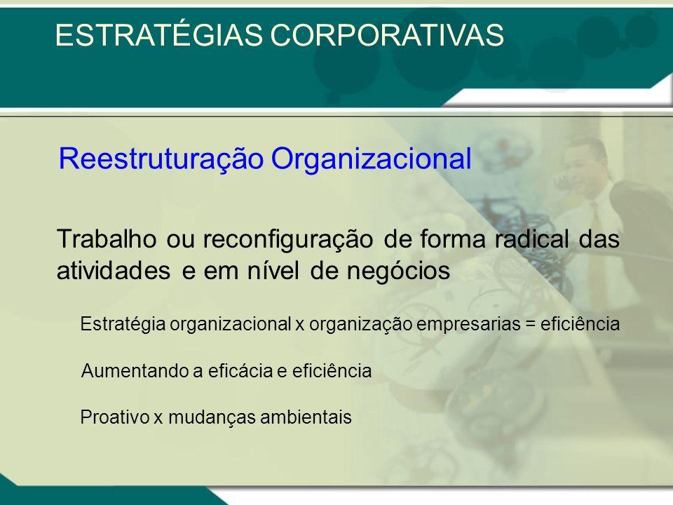 Reestruturação Organizacional Trabalho ou reconfiguração de forma radical das atividades e em nível de negócios Estratégia organizacional x organização empresarias = eficiência Aumentando a eficácia e eficiência Proativo x mudanças ambientais ESTRATÉGIAS CORPORATIVAS
