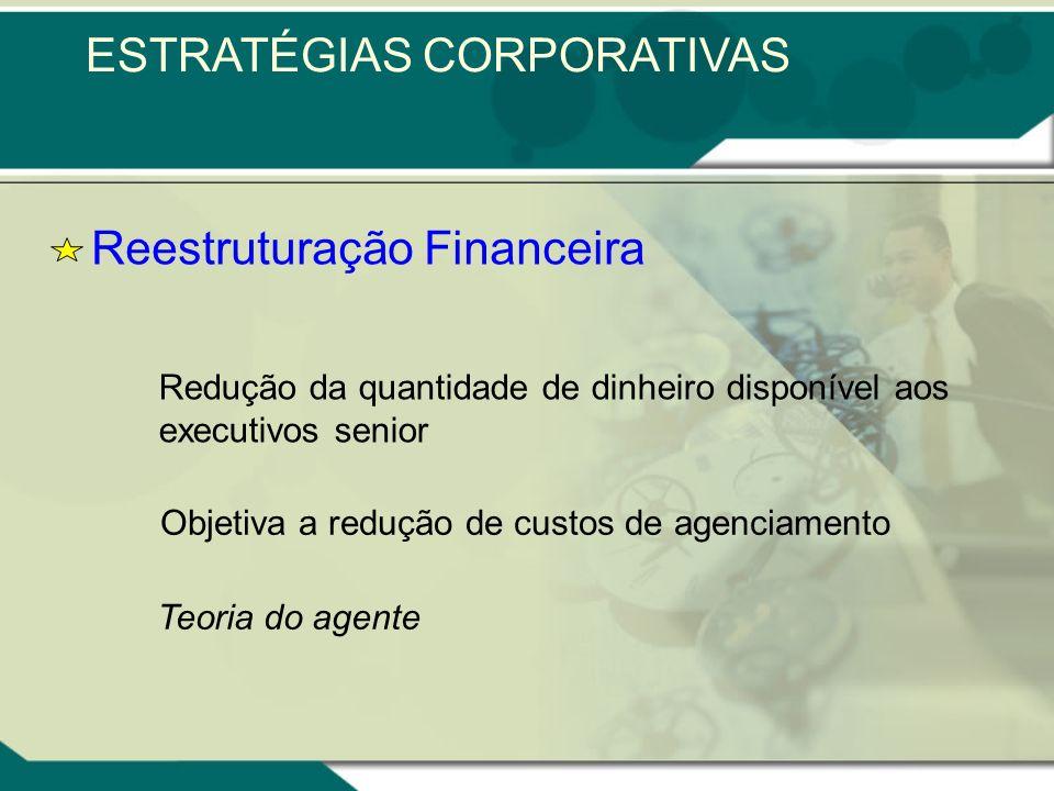 Reestruturação Financeira Redução da quantidade de dinheiro disponível aos executivos senior Objetiva a redução de custos de agenciamento Teoria do agente ESTRATÉGIAS CORPORATIVAS