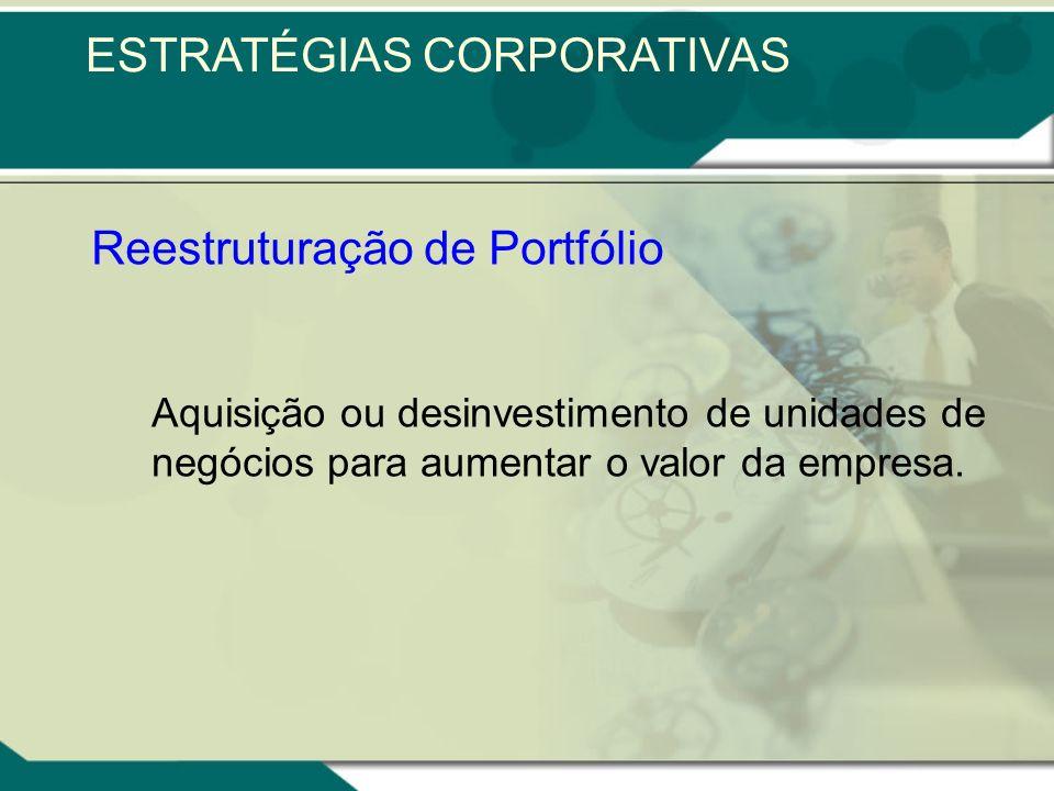 Reestruturação de Portfólio Aquisição ou desinvestimento de unidades de negócios para aumentar o valor da empresa.