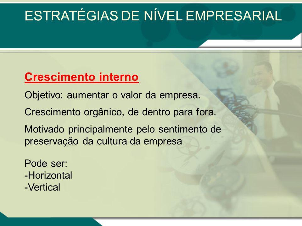 Crescimento interno Objetivo: aumentar o valor da empresa.