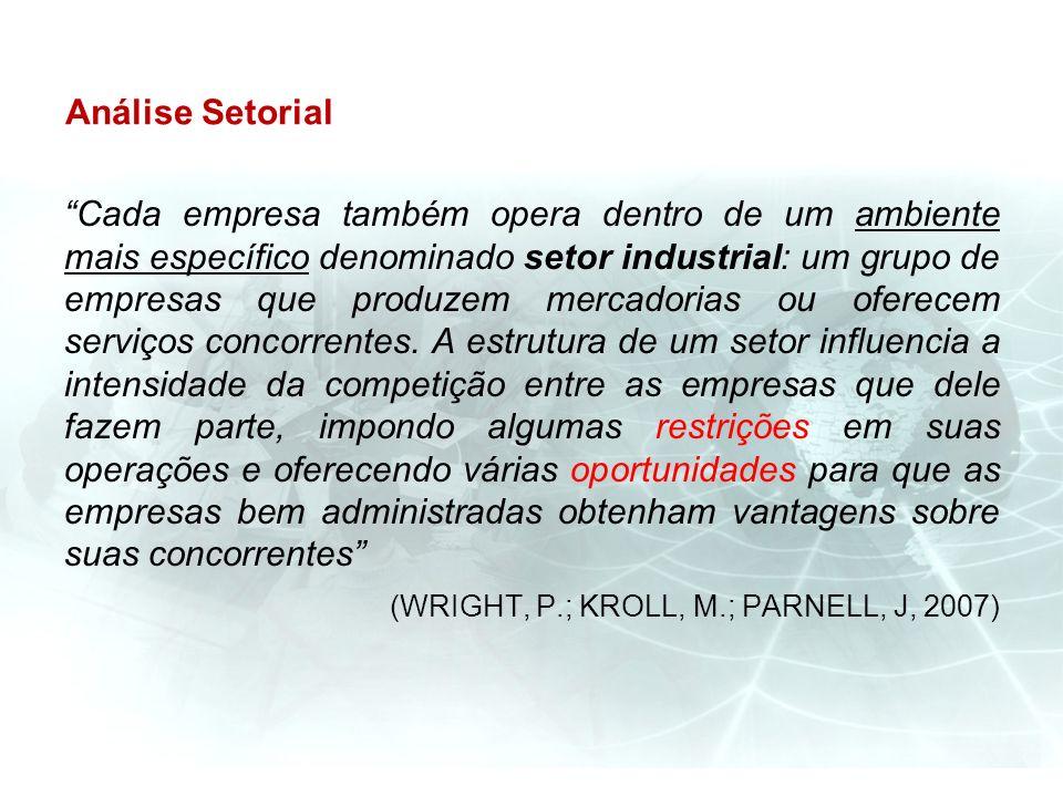 Análise Setorial Cada empresa também opera dentro de um ambiente mais específico denominado setor industrial: um grupo de empresas que produzem mercad