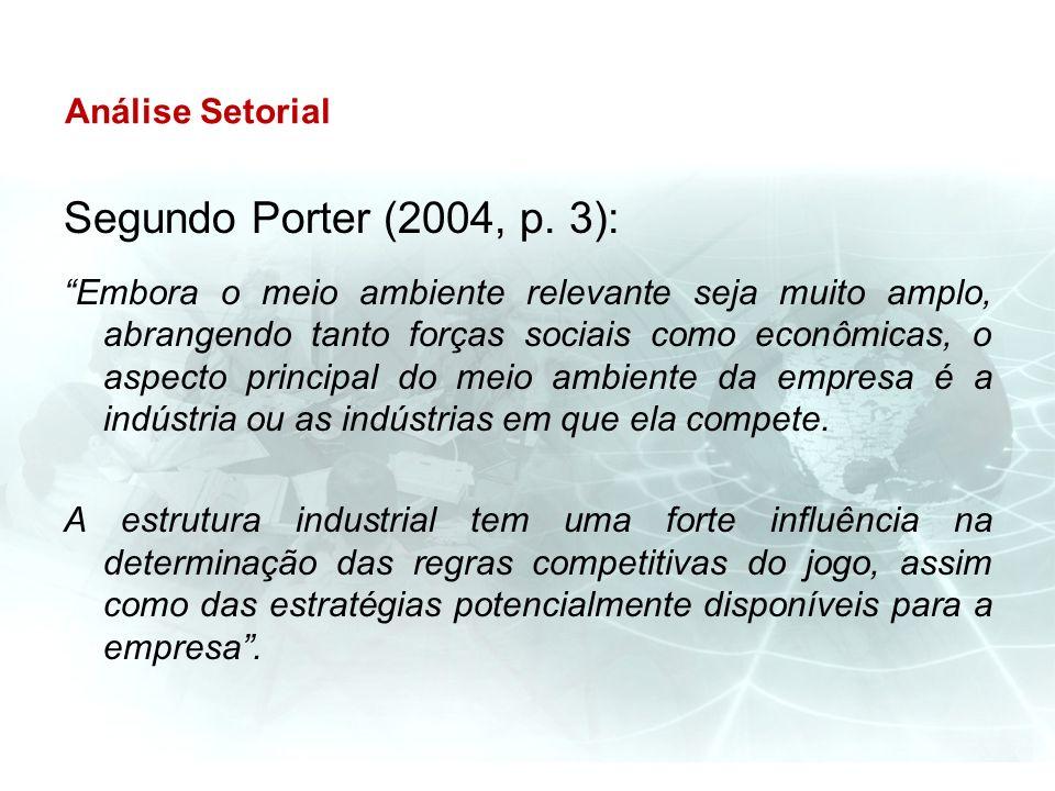 Análise Setorial Segundo Porter (2004, p. 3): Embora o meio ambiente relevante seja muito amplo, abrangendo tanto forças sociais como econômicas, o as