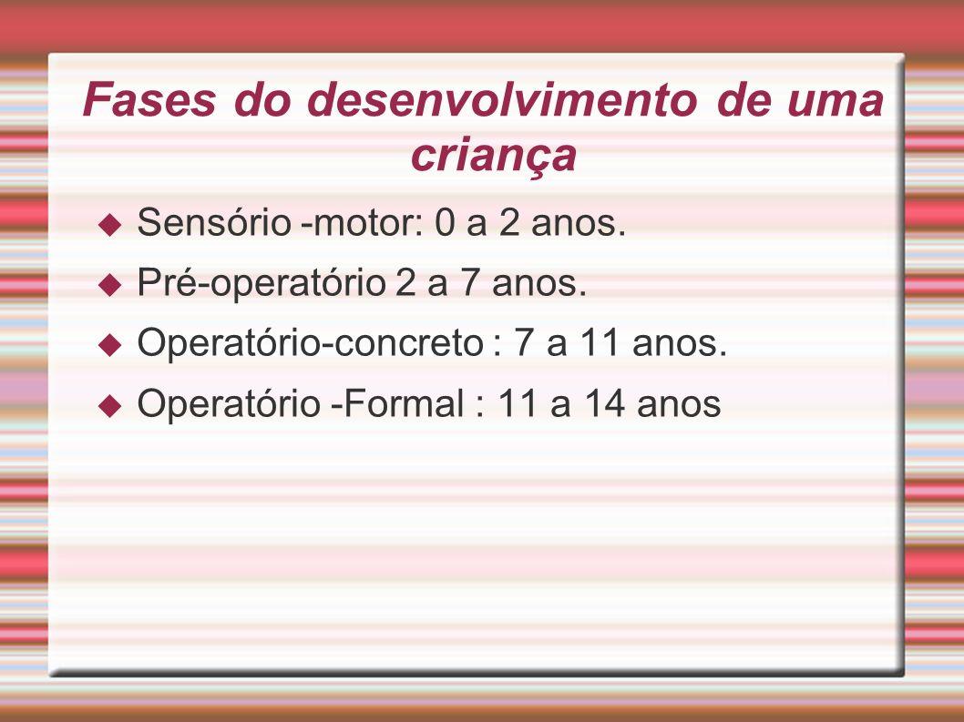 Fases do desenvolvimento de uma criança Sensório -motor: 0 a 2 anos. Pré-operatório 2 a 7 anos. Operatório-concreto : 7 a 11 anos. Operatório -Formal