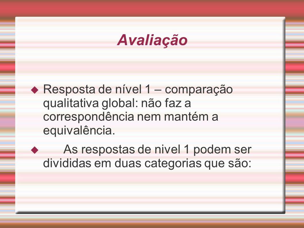 Avaliação Resposta de nível 1 – comparação qualitativa global: não faz a correspondência nem mantém a equivalência. As respostas de nivel 1 podem ser