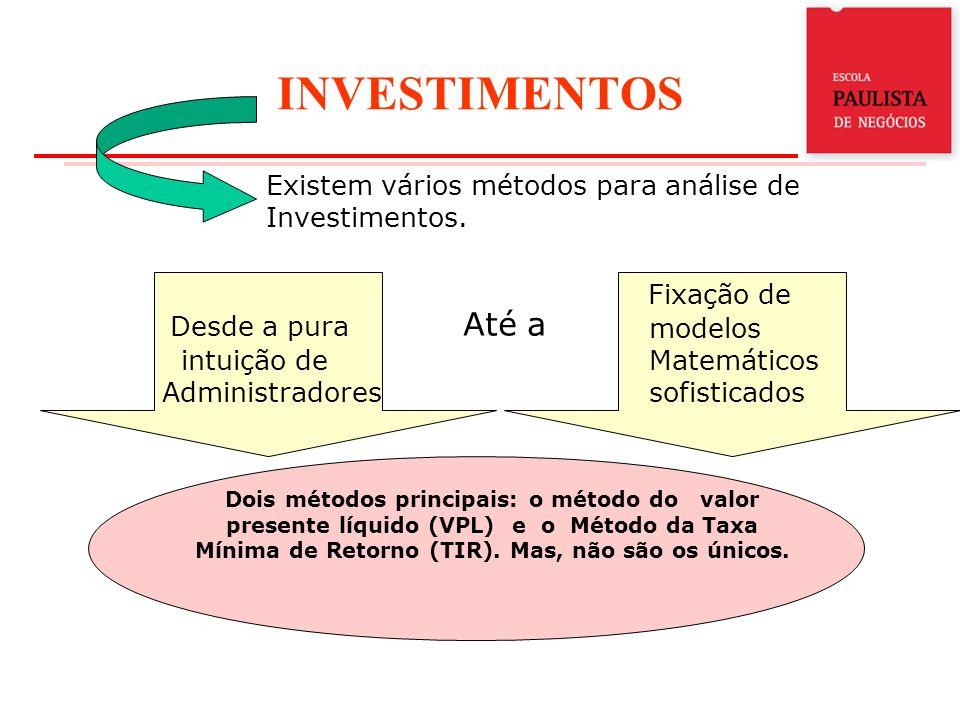 INVESTIMENTOS Existem vários métodos para análise de Investimentos. Desde a pura intuição de Administradores Até a Fixação de modelos Matemáticos sofi