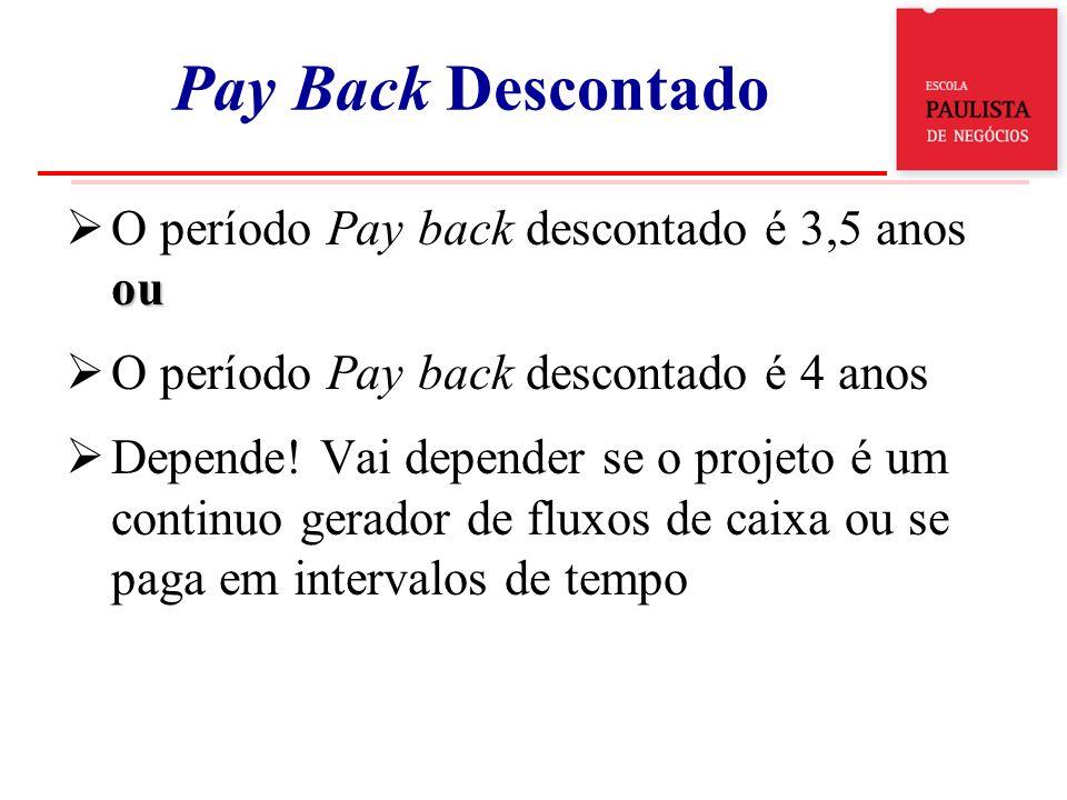 ou O período Pay back descontado é 3,5 anos ou O período Pay back descontado é 4 anos Depende! Vai depender se o projeto é um continuo gerador de flux