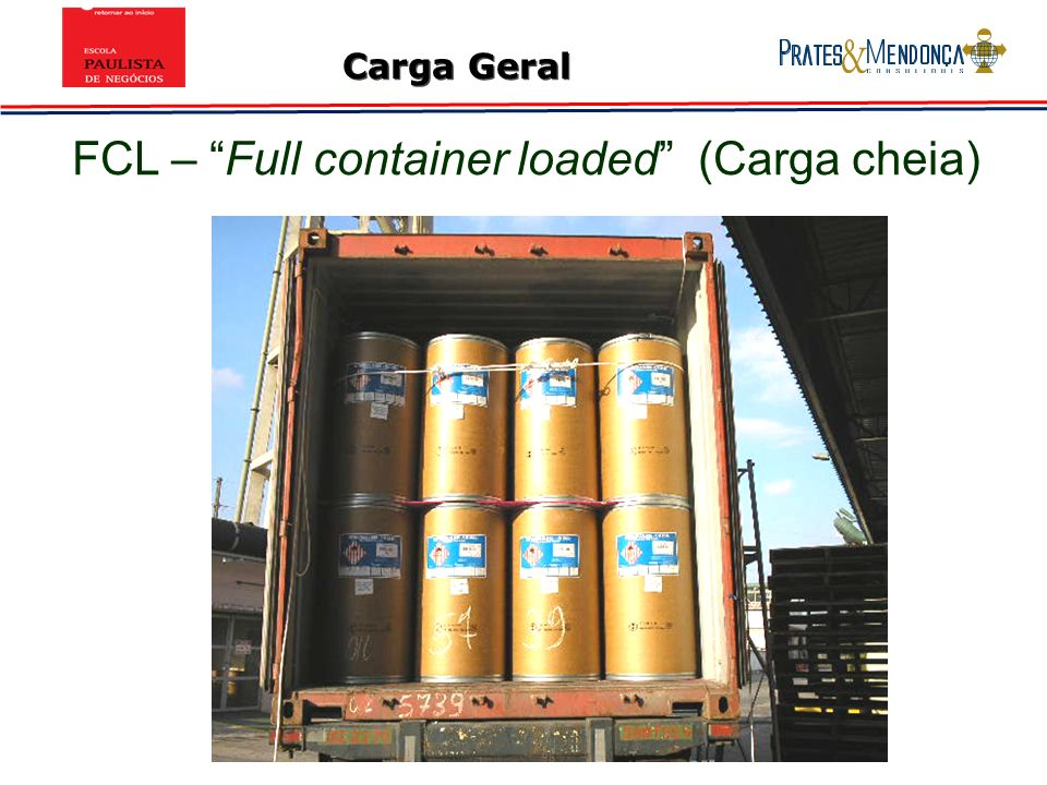 Carga Geral FCL – Full container loaded (Carga cheia)