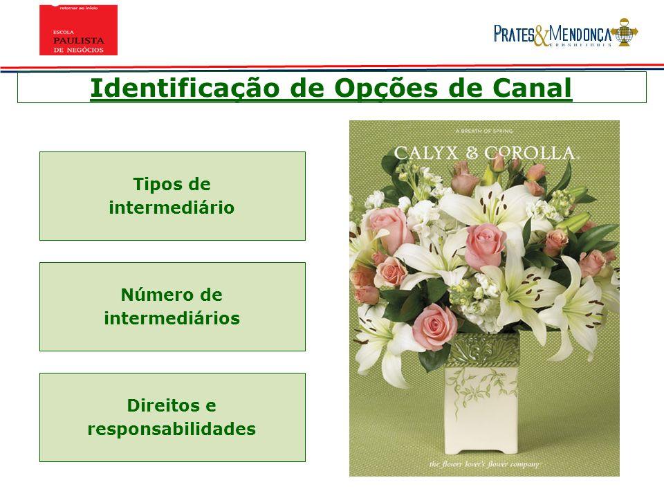 Identificação de Opções de Canal Tipos de intermediário Número de intermediários Direitos e responsabilidades