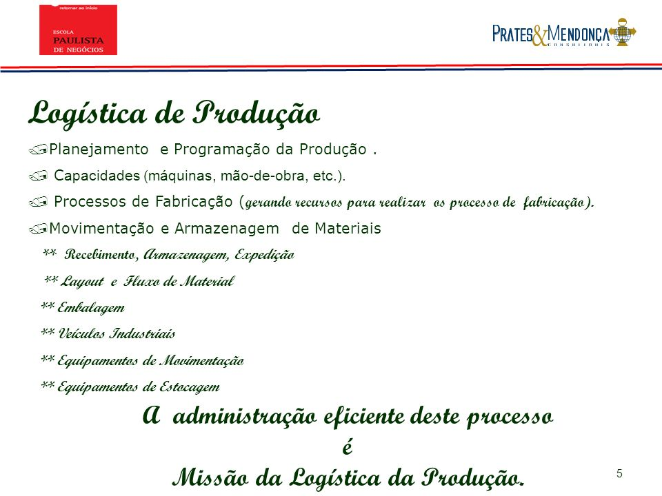 5 Logística de Produção / Planejamento e Programação da Produção. / C apacidades (máquinas, mão-de-obra, etc.). / Processos de Fabricação ( gerando re