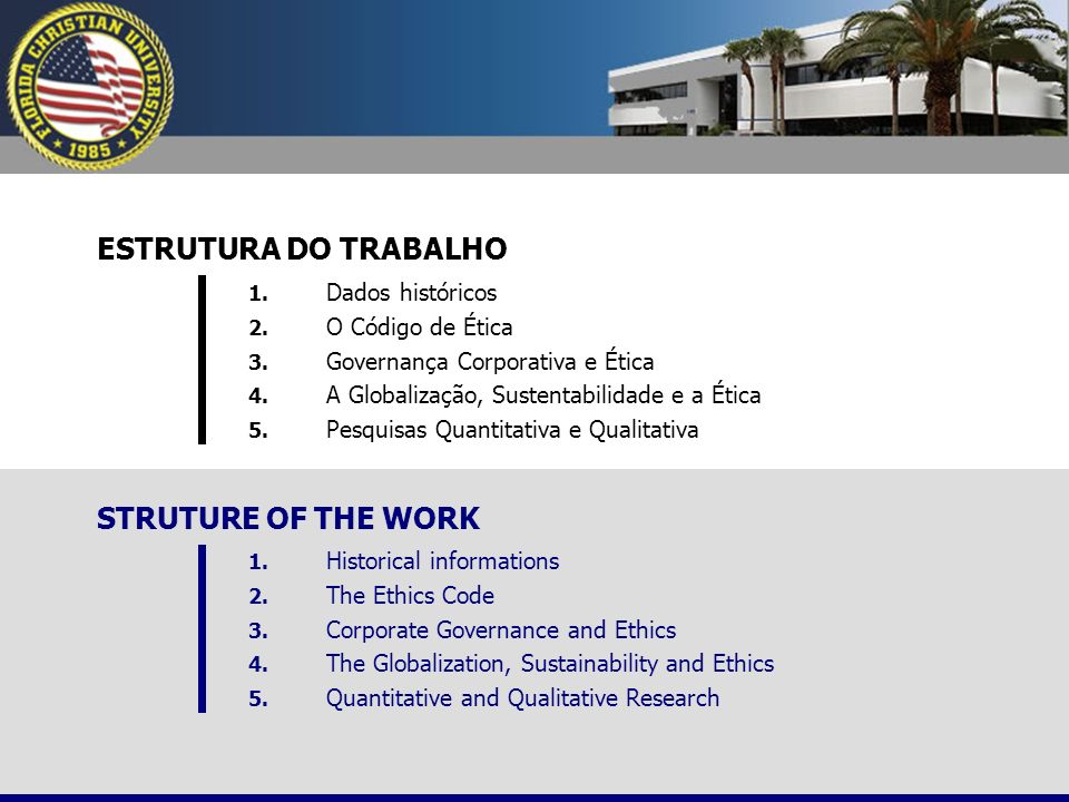ESTRUTURA DO TRABALHO 1. Dados históricos 2. O Código de Ética 3. Governança Corporativa e Ética 4. A Globalização, Sustentabilidade e a Ética 5. Pesq