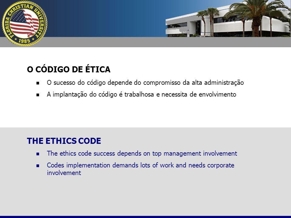 O CÓDIGO DE ÉTICA O sucesso do código depende do compromisso da alta administração A implantação do código é trabalhosa e necessita de envolvimento TH