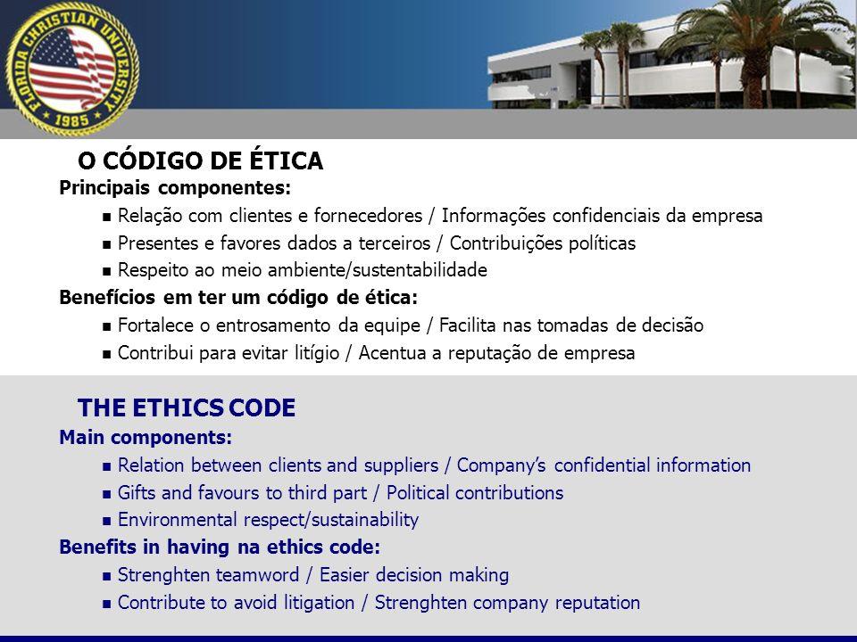 O CÓDIGO DE ÉTICA Principais componentes: Relação com clientes e fornecedores / Informações confidenciais da empresa Presentes e favores dados a terce