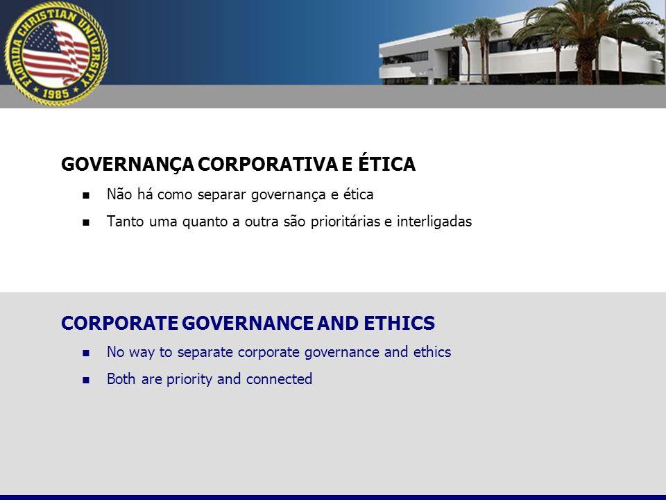 GOVERNANÇA CORPORATIVA E ÉTICA Não há como separar governança e ética Tanto uma quanto a outra são prioritárias e interligadas CORPORATE GOVERNANCE AN