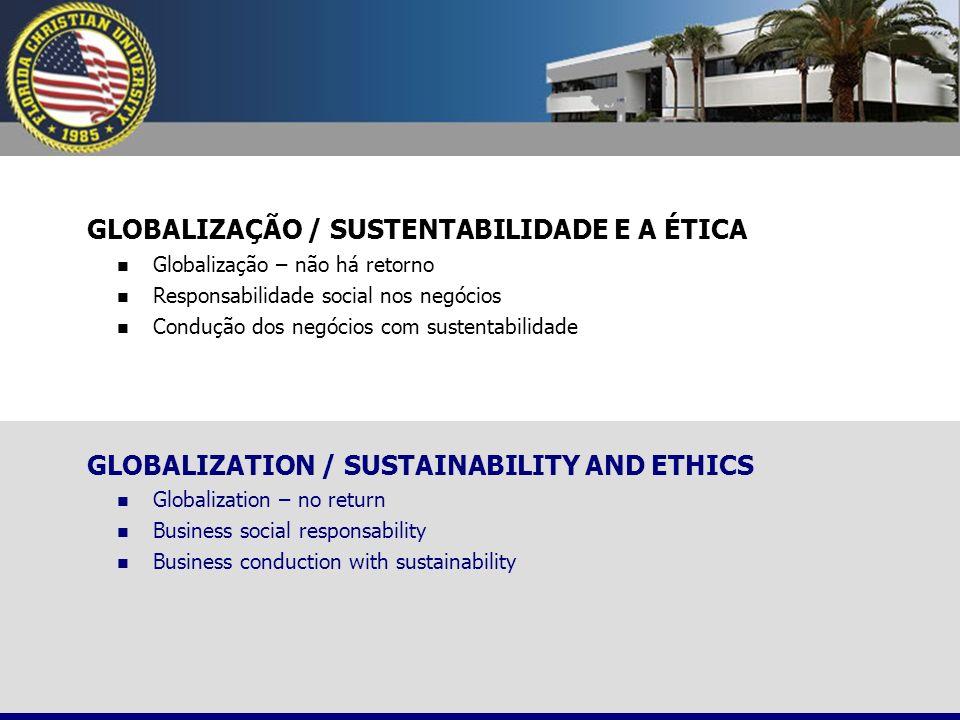 GLOBALIZAÇÃO / SUSTENTABILIDADE E A ÉTICA Globalização – não há retorno Responsabilidade social nos negócios Condução dos negócios com sustentabilidad