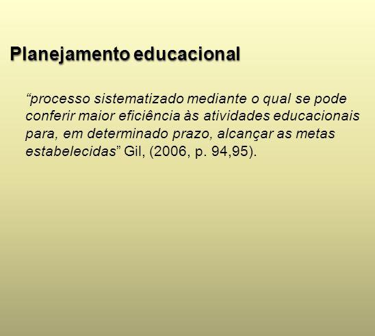 Planejamento educacional processo sistematizado mediante o qual se pode conferir maior eficiência às atividades educacionais para, em determinado praz