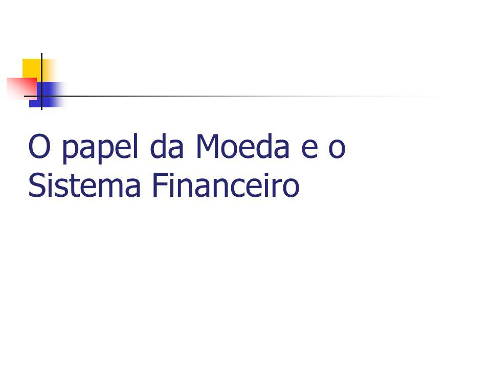 O lado monetário da economia Os agregados monetários no Brasil : M0 = moeda em poder do público (papel-moeda e moedas metálicas) M1 = M0 + depósitos à vista nos bancos comerciais M2 = M1 + fundos do mercado monetário + títulos públicos em poder do público M3 = M2 + depósitos em poupança M4 = M3 + títulos privados (depósitos a prazo e letras de câmbio)