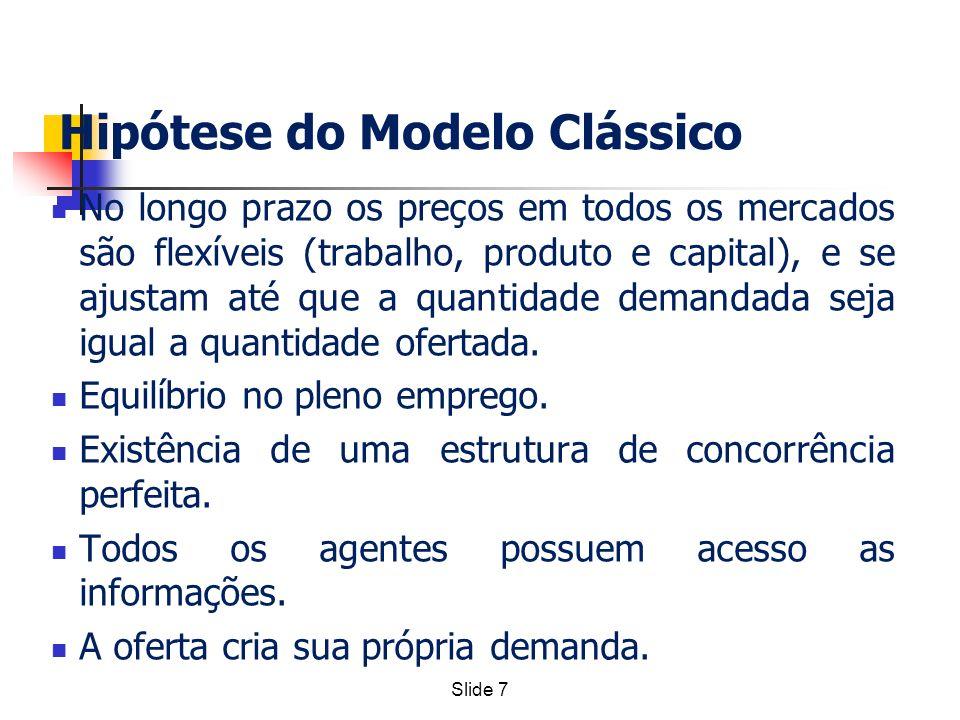 Slide 7 Hipótese do Modelo Clássico No longo prazo os preços em todos os mercados são flexíveis (trabalho, produto e capital), e se ajustam até que a