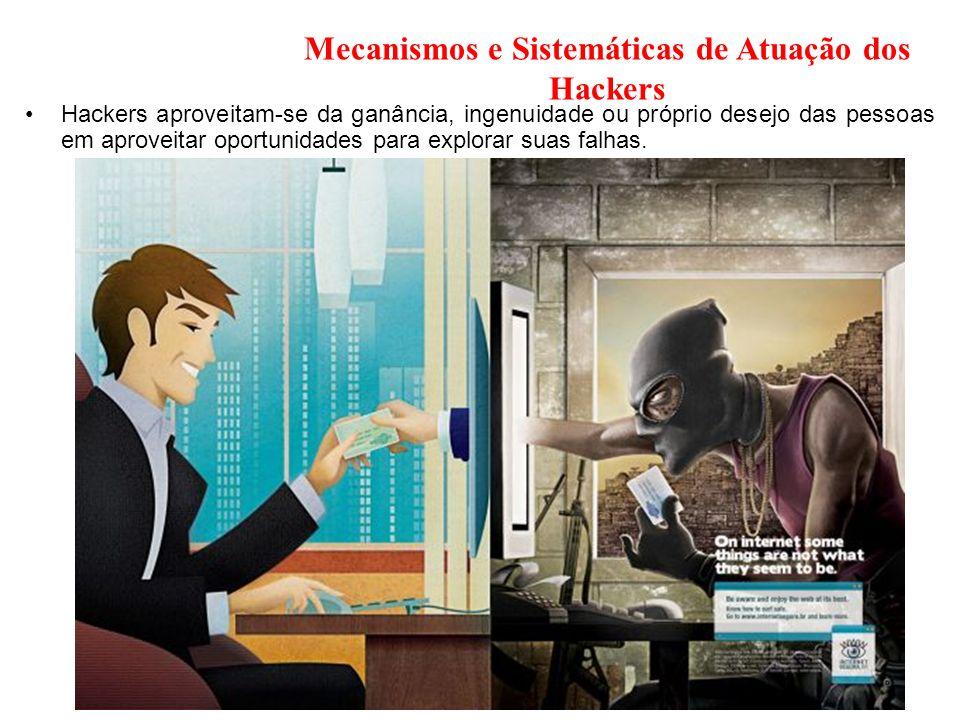 Mecanismos e Sistemáticas de Atuação dos Hackers Hackers aproveitam-se da ganância, ingenuidade ou próprio desejo das pessoas em aproveitar oportunida
