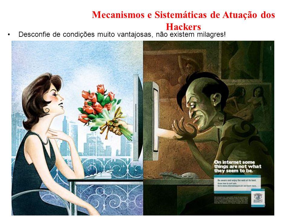Mecanismos e Sistemáticas de Atuação dos Hackers Desconfie de condições muito vantajosas, não existem milagres!