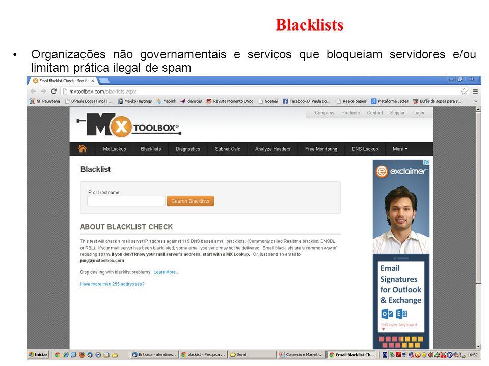Blacklists Organizações não governamentais e serviços que bloqueiam servidores e/ou limitam prática ilegal de spam
