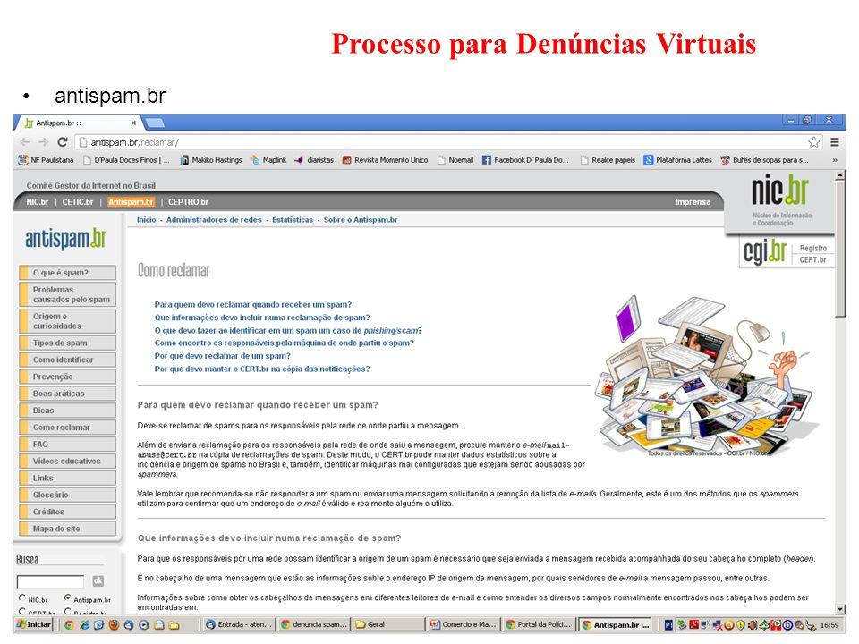 Processo para Denúncias Virtuais antispam.br