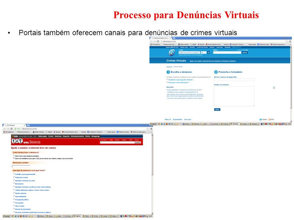 Processo para Denúncias Virtuais Portais também oferecem canais para denúncias de crimes virtuais