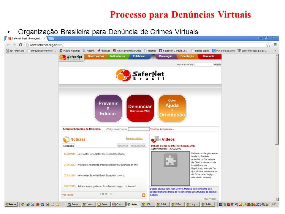 Processo para Denúncias Virtuais Organização Brasileira para Denúncia de Crimes Virtuais