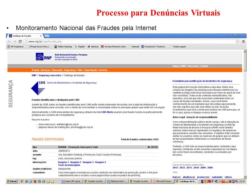 Processo para Denúncias Virtuais Monitoramento Nacional das Fraudes pela Internet