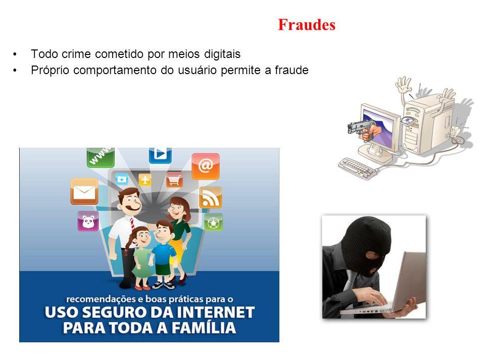 Fraudes Todo crime cometido por meios digitais Próprio comportamento do usuário permite a fraude