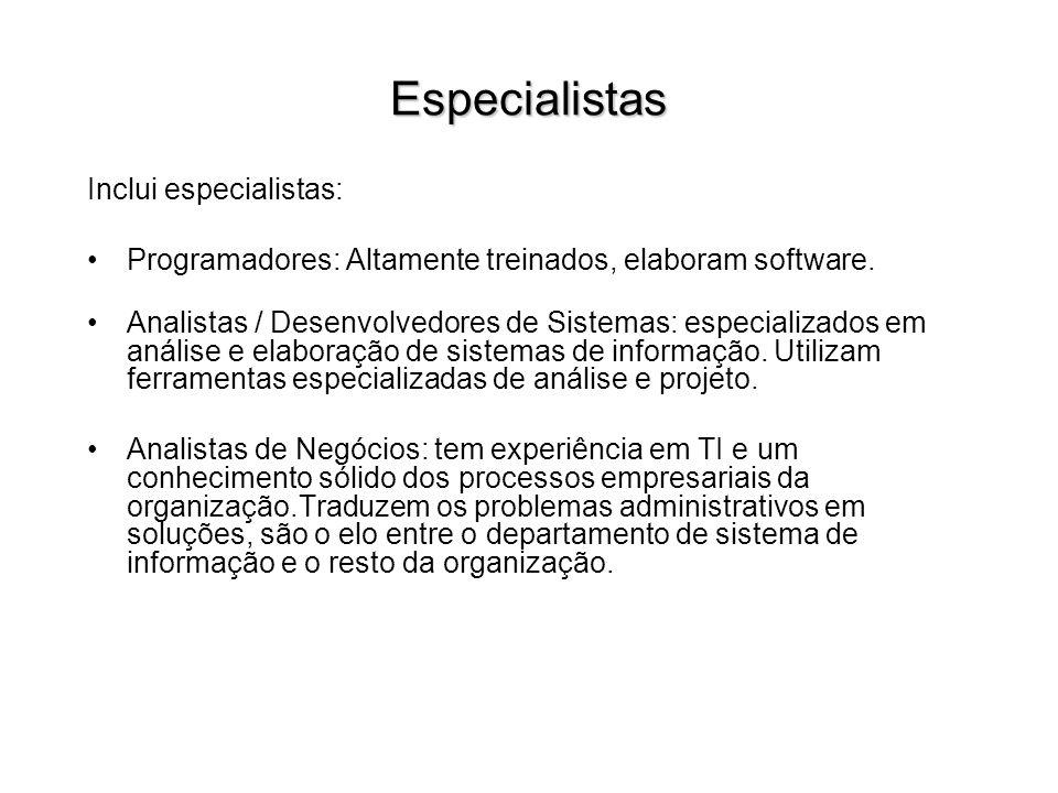 Especialistas Inclui especialistas: Programadores: Altamente treinados, elaboram software. Analistas / Desenvolvedores de Sistemas: especializados em