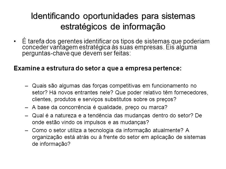Identificando oportunidades para sistemas estratégicos de informação É tarefa dos gerentes identificar os tipos de sistemas que poderiam conceder vant