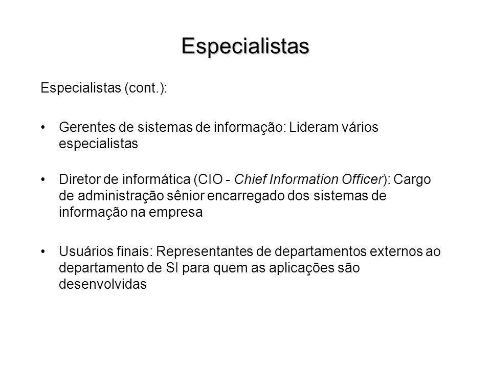 Especialistas Especialistas (cont.): Gerentes de sistemas de informação: Lideram vários especialistas Diretor de informática (CIO - Chief Information