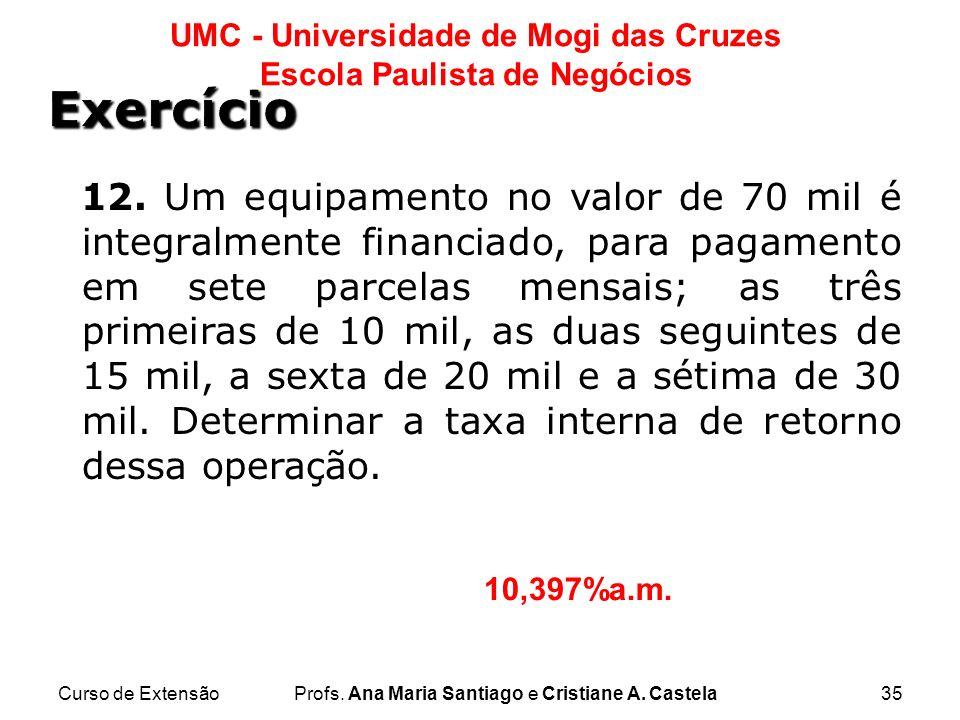 Curso de ExtensãoProfs. Ana Maria Santiago e Cristiane A. Castela35 UMC - Universidade de Mogi das Cruzes Escola Paulista de Negócios 12. Um equipamen