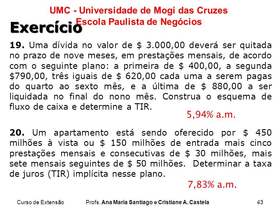 Curso de ExtensãoProfs. Ana Maria Santiago e Cristiane A. Castela43 UMC - Universidade de Mogi das Cruzes Escola Paulista de Negócios 5,94% a.m. 7,83%