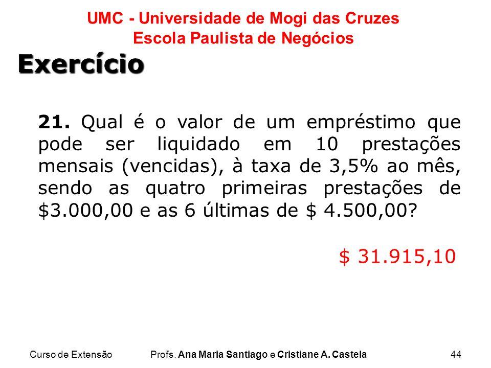 Curso de ExtensãoProfs. Ana Maria Santiago e Cristiane A. Castela44 UMC - Universidade de Mogi das Cruzes Escola Paulista de Negócios 21. Qual é o val