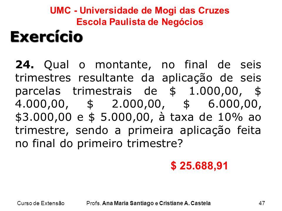 Curso de ExtensãoProfs. Ana Maria Santiago e Cristiane A. Castela47 UMC - Universidade de Mogi das Cruzes Escola Paulista de Negócios 24. Qual o monta