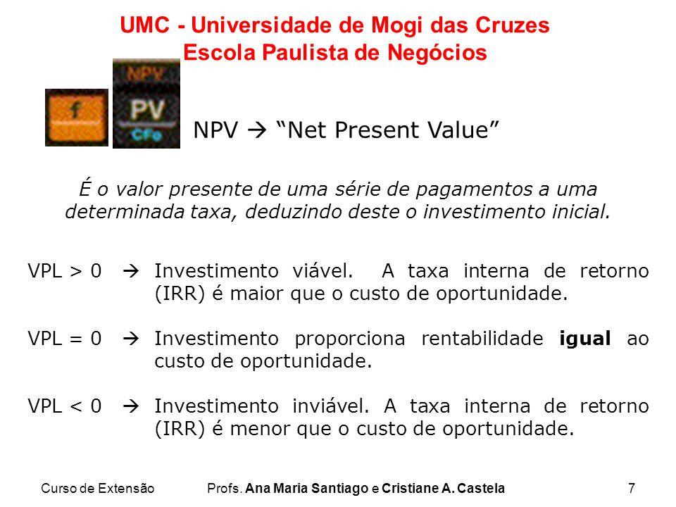 Curso de ExtensãoProfs. Ana Maria Santiago e Cristiane A. Castela7 UMC - Universidade de Mogi das Cruzes Escola Paulista de Negócios NPV Net Present V