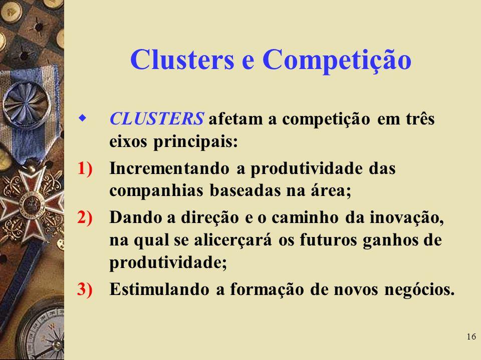 16 Clusters e Competição CLUSTERS afetam a competição em três eixos principais: 1)Incrementando a produtividade das companhias baseadas na área; 2)Dan