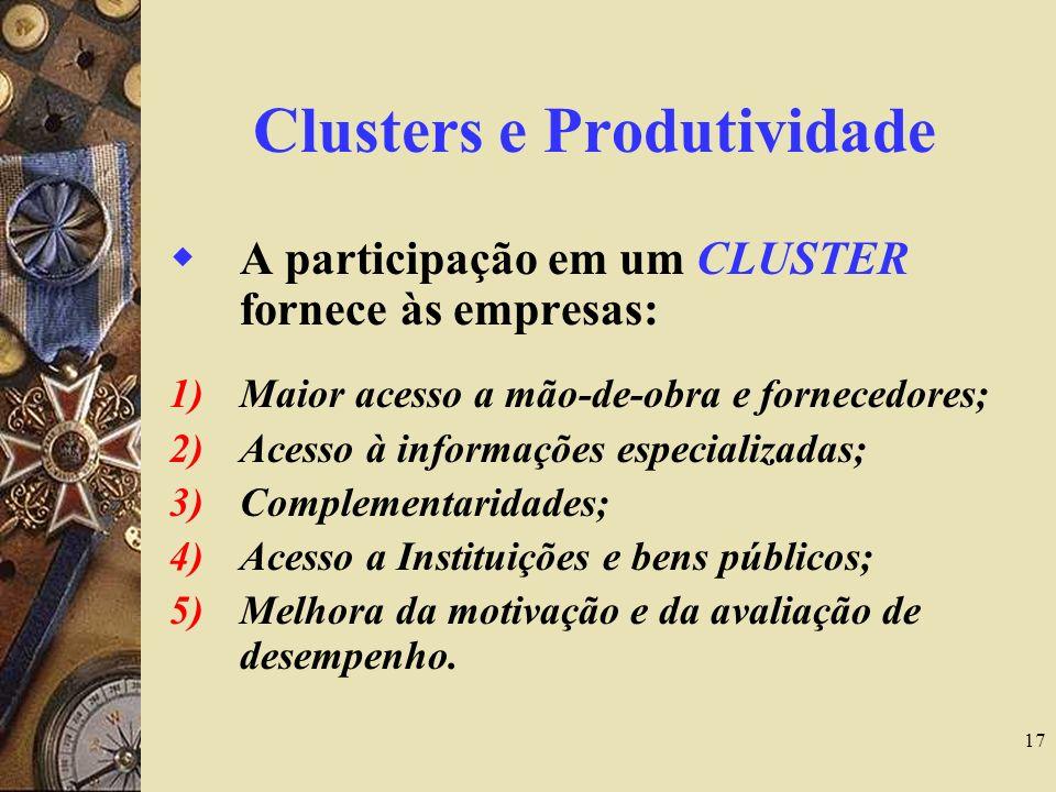 17 Clusters e Produtividade A participação em um CLUSTER fornece às empresas: 1)Maior acesso a mão-de-obra e fornecedores; 2)Acesso à informações espe