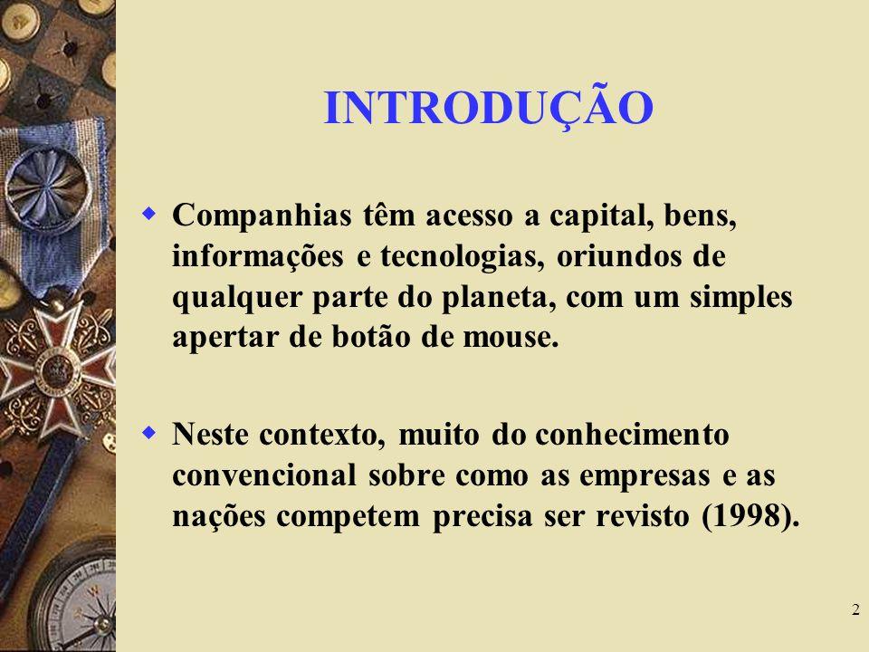 2 INTRODUÇÃO Companhias têm acesso a capital, bens, informações e tecnologias, oriundos de qualquer parte do planeta, com um simples apertar de botão